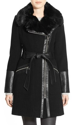 Women's Via Spiga Faux Leather & Faux Fur Trim Belted Wool Blend Coat $318 thestylecure.com