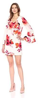 Calvin Klein Women's Long V Neck Sheath with Flutter Bell Sleeve Dress