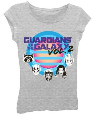 Marvel Guardians of the Galaxy Girls' Vol. 2 Character Heads Short Puff Sleeve Graphic T-Shirt With Purple Glitter
