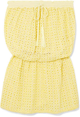 Melissa Odabash Adela Broderie Anglaise Mini Dress - Yellow