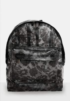 Missguided Mi Pac Black Transparent Lace Backpack, Black