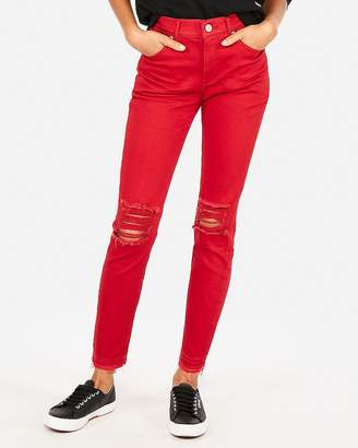 Express High Waisted Red Stretch Ankle Leggings