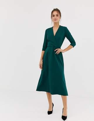 Closet London Closet 3/4 sleeve wrap slit dress in green