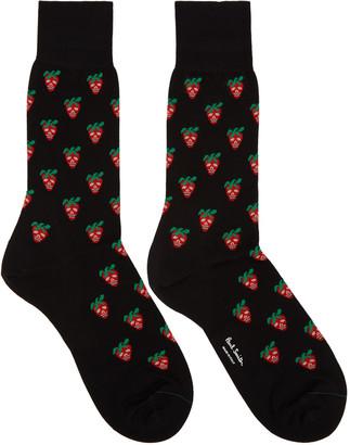 Paul Smith Black Mini Strawberry Socks $30 thestylecure.com