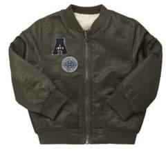 Badge Detail Reversible Bomber Jacket