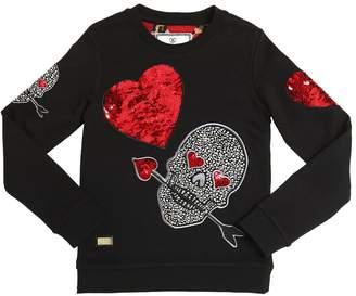 Philipp Plein Junior Sequin Embroidered Cotton Sweatshirt