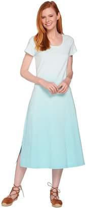 Halston H By H by Petite Short Sleeve Dip Dye Knit Midi Dress