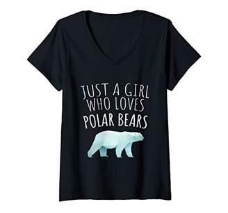 Womens Just a Girl Who Loves Polar Bears V-Neck T-Shirt