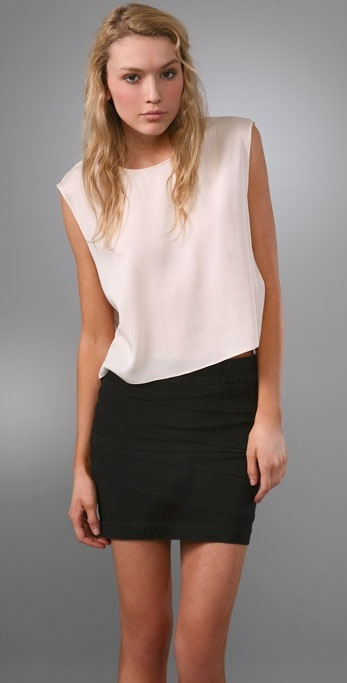 Alice + Olivia Silk Cropped Tee