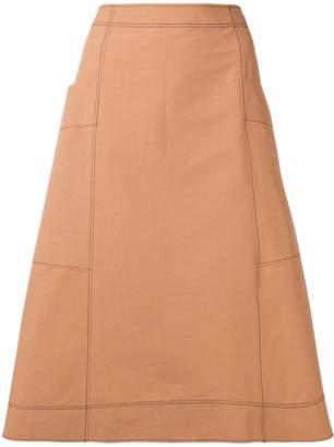Cédric Charlier frayed A-line midi skirt