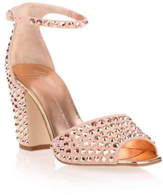 Giuseppe Zanotti Lavinia 80 rose gold studded sandal $935 thestylecure.com