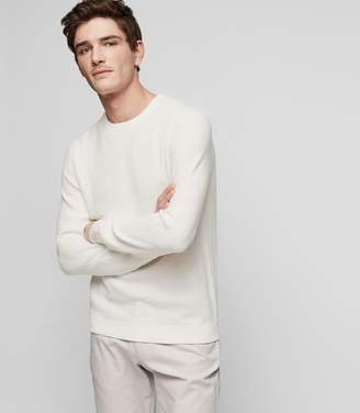 Reiss LAURENCE TEXTURED CREW NECK JUMPER White