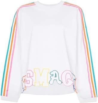 Mira Mikati rainbow stripe letter embroidered cotton jumper