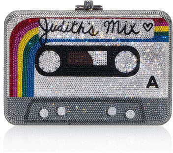 Judith Leiber Couture Rainbow Mix Tape Slim Slide-Lock Clutch Bag