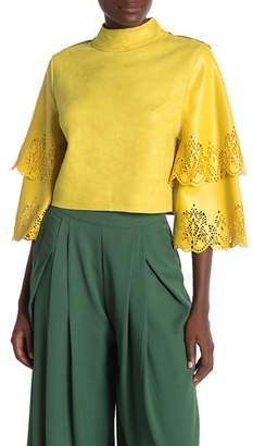 CQ by CQ Two Tiered Ruffle Laser-Cut Hem Sleeve Faux Suede Crop Top
