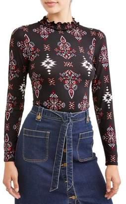 Eye Candy Juniors' Printed Peached Jersey Long Sleeve Ruffle Trim T-Shirt