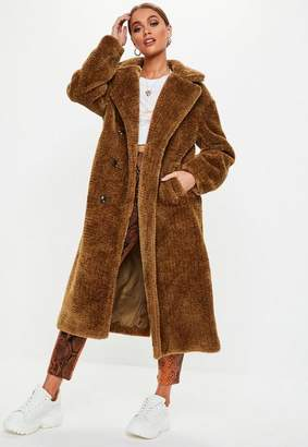 Missguided Brown Long Faux Fur Coat
