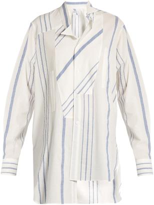 Asymmetric wing-collar striped cotton-blend shirt