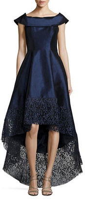Betsy & Adam Lace-Trimmed Hi-Lo Gown $339 thestylecure.com