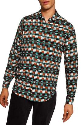 Topman Classic Fit Diamond Print Woven Shirt
