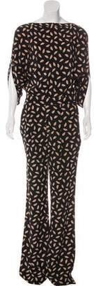 Diane von Furstenberg Silk Long Sleeve Jumpsuit