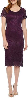 Ronni Nicole Short Sleeve Floral Lace Sheath Dress