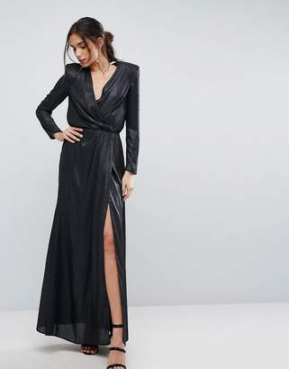 Asos Design Metallic Twist Front Maxi Dress with Shoulder Pads