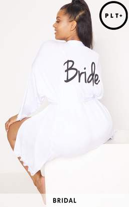 PrettyLittleThing Plus Bride White Slinky Dressing Gown