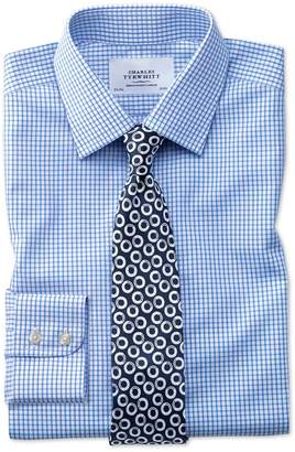 Charles Tyrwhitt Slim Fit Non-Iron Grid Check Sky Blue Cotton Dress Shirt Single Cuff Size 16/35