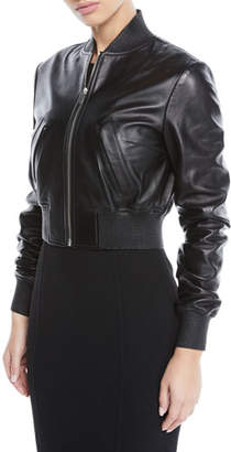 Michael Kors Zip-Front Plonge Leather Cropped Bomber Jacket