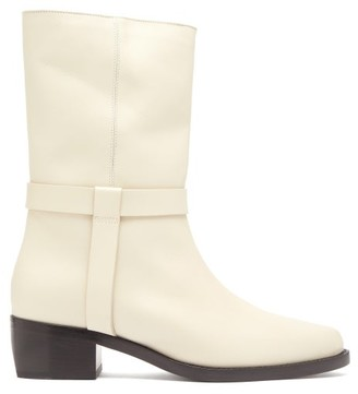 Legres - Stacked Heel Leather Biker Boot - Womens - Cream
