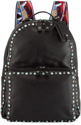 Valentino Men's Rockstud Web Strap Leather Backpack Bag