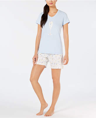 Charter Club Brushed Cotton Knit Top & Shorts Pajama Set
