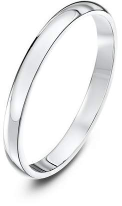 Theia Unisex 14 ct White Gold, Extra Heavy-Weight D-Shaped Polished Wedding Ring 61 (19.4) White Gold