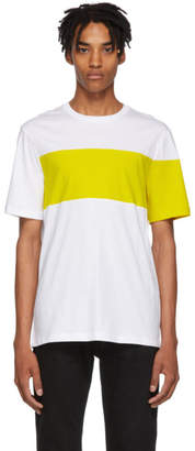 Helmut Lang White and Yellow Logo Band T-Shirt