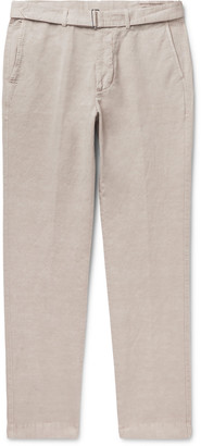 Officine Generale Julian Slim-Fit Garment-Dyed Cotton and Linen-Blend Trousers - Men - Neutrals