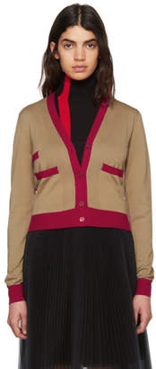 Marni Tan and Red Cotton Cardigan