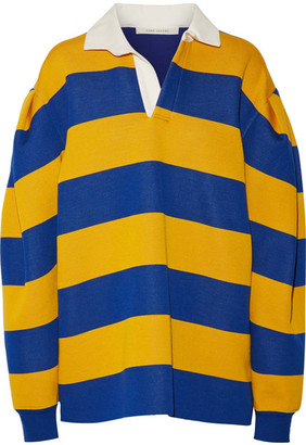 Marc Jacobs - Oversized Pleated Striped Jersey Shirt - Blue $895 thestylecure.com