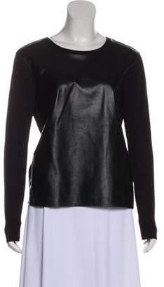 Rebecca Minkoff Leather-Paneled Long Sleeve Top