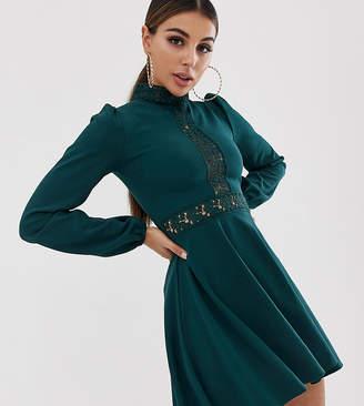 PrettyLittleThing high neck crochet trim skater dress in green