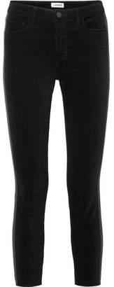 L'Agence The Margot Satin-trimmed Stretch-velvet Skinny Pants - Black