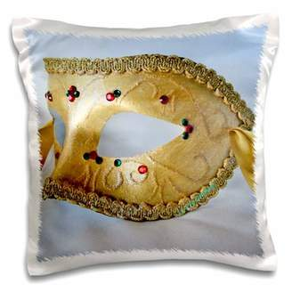 3dRose Masquerade In Antique Gold Glitter - Pillow Case, 16 by 16-inch