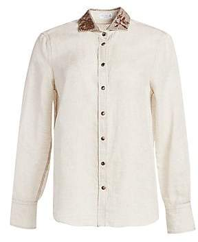 Brunello Cucinelli Women's Embroidered-Collar Linen Blouse
