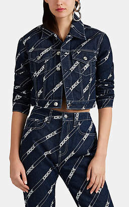 Jordache Women's Logo-Print Crop Denim Jacket - Blue