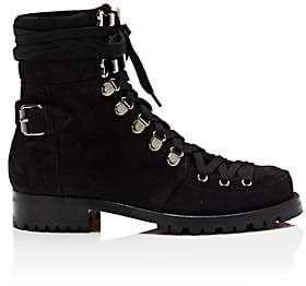 Christian Louboutin Women's Who Runs Flat Suede Ankle Boots - Version Black