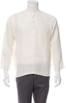 Saint Laurent Twill Linen Popover Shirt