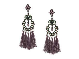 Steve Madden Casted Stone Tassel Post Earrings