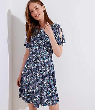 LOFT Petite Floral Split Flutter Sleeve Dress