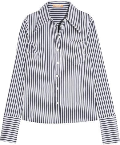 Michael Kors Collection - Striped Stretch Cotton-blend Poplin Shirt - White