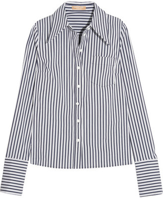 Michael Kors Collection - Striped Stretch Cotton-blend Poplin Shirt - White $495 thestylecure.com